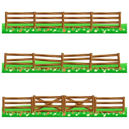 Set di recinzioni di legno azienda isolata su sfondo bianco con erba e fiori. Fits come elementi di scena per cartoni animati o asset gioco. Illustrazione vettoriale.