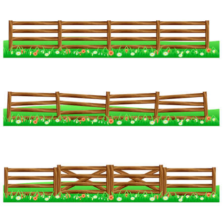 Zestaw farm ogrodzenia drewniane samodzielnie na białym tle z trawy i flowers.Fits jako elementy sceny dla kreskówek lub aktywów gry. Ilustracji wektorowych.