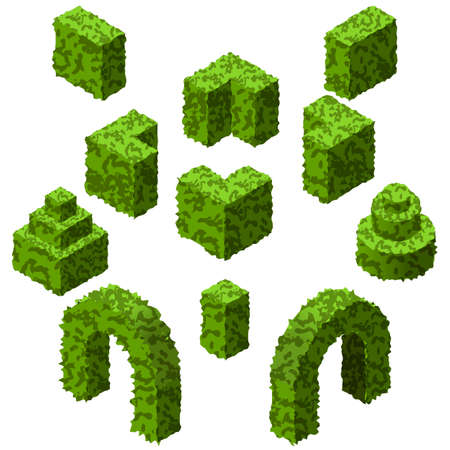 Set of garden bushes. Isolated vector topiary bushes to create garden or landscape scenes. Isometric set. Vector Illustration Иллюстрация