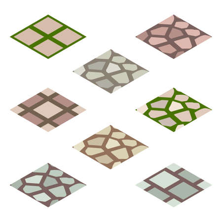 peasant: Garden or farm isometric tile set. Isolated tiles with walk paving. Vector illustration, can be used as a game or app asset to create landscape or garden scene. Illustration