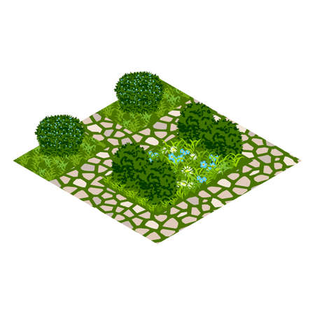 Garden vector asset with topiary bushes, flowers, grass and paved walk way. Isometric set, vector illustration. Can be used to create garden scenes or landscapes in games, Иллюстрация