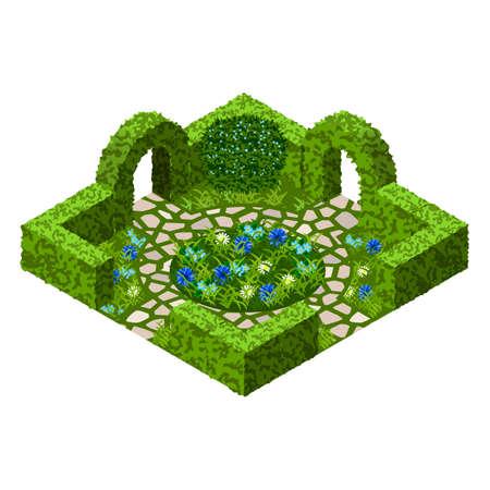 empedrado: Activo del vector del jardín con los arbustos del topiary, las flores, la hierba y la manera pavimentada del paseo. Conjunto isométrico, ilustración vectorial. Se puede usar para crear escenas de jardín o paisajes en juegos, Vectores