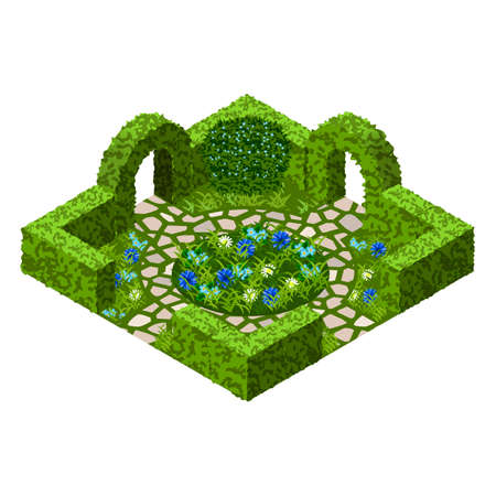 Garden vector asset with topiary bushes, flowers, grass and paved walk way. Isometric set, vector illustration. Can be used to create garden scenes or landscapes in games, Illustration