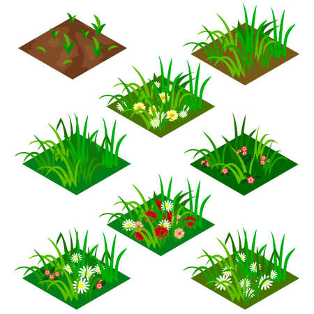 peasant: Garden or farm isometric tile set. Isolated tiles with grass and flowers - chamomiles and other. Vector illustration, can be used as a game asset to create landscape or garden scene.