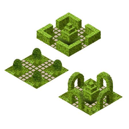 Set de carreaux de jardin isométrique. Atout avec divers buissons et de l'herbe pour créer des scènes de jardin topiaire. Illustration vectorielle, peut être utilisé dans les jeux, les paysages, etc. Banque d'images - 87114014