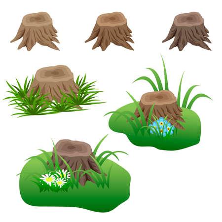 Ensemble de souches d'arbres dans l'herbe et des fleurs isolées. Éléments pour la scène de paysage. Peut être utilisé comme un atout de jeu. Illustration vectorielle Banque d'images - 87180774