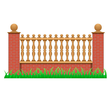Brick fence decorated with balusters. Element to use in manor, house or garden fence. Isolated object on white background. Vector illustration