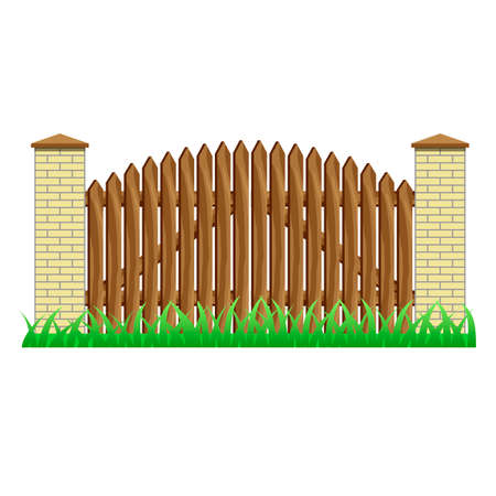 Fence with brick pillars and wood gate. Element to use in manor, farm or garden fence. Isolated object on white background. Vector illustration