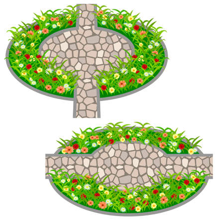 Garden flowers asset. Bushes and flowers in grass to use in garden scene. Vector illustration
