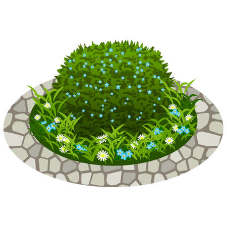Garden flowers asset. Bushes and flowers in grass to use in garden scene. Vector illustration Vector Illustration