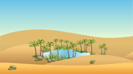 Oasis in desert - landscape background. Vector illustration with sand dunes, blue lake and palms Stock fotó - 90261990