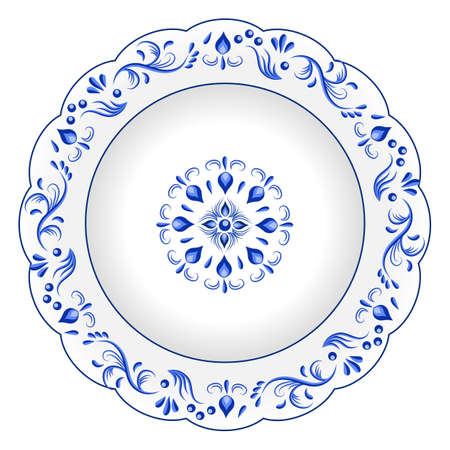 Decorative porcelain plate ornate with blue floral ornament pattern in traditional Russian style Gzhel with vintage elements. Isolated object, white plate with blue paint. Vector illustration Çizim