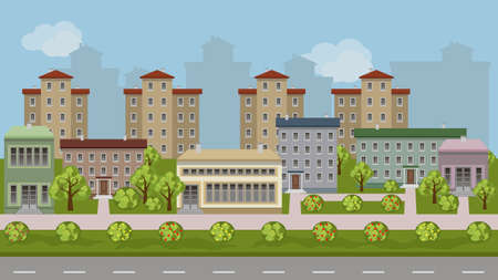 Urban landscape cartoon background. Vector city scene with modern houses and shop buildings along a street, green trees and bushes, walks and road.  Flat design style cityscape, vector illustration Illustration