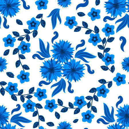 Decorative floral pattern for backgrounds ornate with traditional blue on white ornament in Russian style Gzhel with flowers and leaves. Seamless pattern, vector illustration