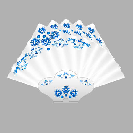 Napkins folded for table setting. White napkins decorated  in traditional Russian style Gzhel with blue floral vintage pattern. Isolated object, vector illustration