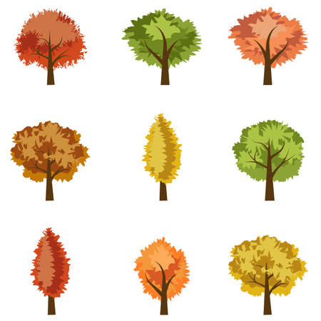 Set of seasoned trees. Flat cartoon style, isolated objects to use as elements in landscape scene. Vector illustration