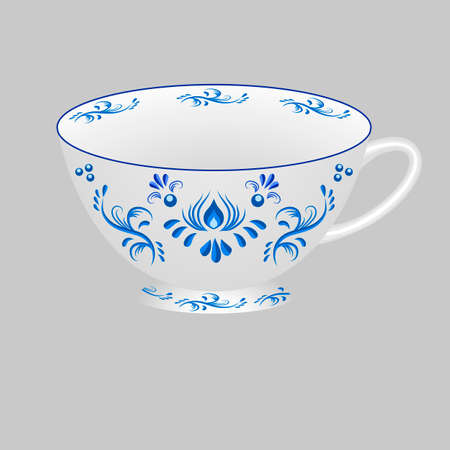 Decorative porcelain tea cup ornate with blue floral pattern in traditional Russian style Gzhel. Isolated object, white cup with blue ornament paint. Vector illustration
