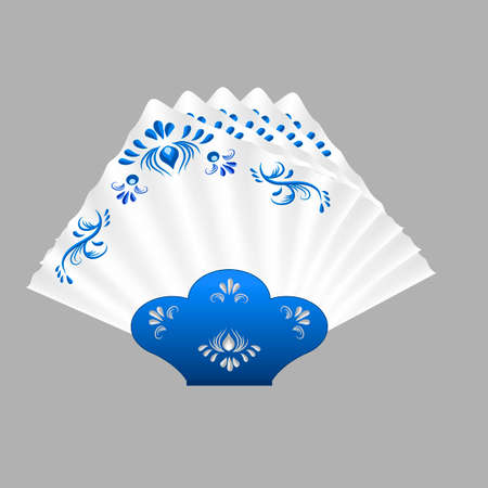 Napkins folded for table setting. White napkins decorated  in traditional Russian style Gzhel with blue floral vintage pattern. Isolated object, vector illustration Stock Vector - 91341262