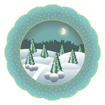 Decorative Christmas souvenir plate isolated. Porcelain plate painted with Christmas night winter landscape scene. Snow, trees, snowflakes,. Vector illustration