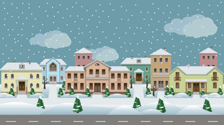 Vector urban landscape. Set of town houses along city street, sidewalks, winter with snowflakes and trees in snow. Seamless background for cartoon or game asset. Vector illustration