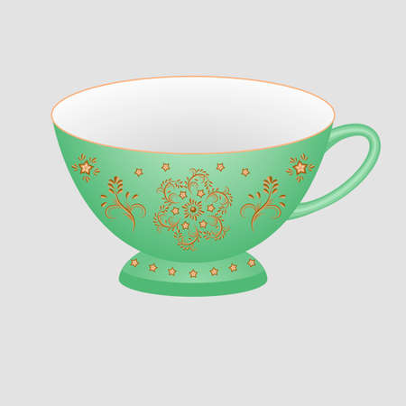 Decorative porcelain tea cup ornate with oriental vintage pattern. Isolated green cup painted with golden floral ornament. Vector illustration