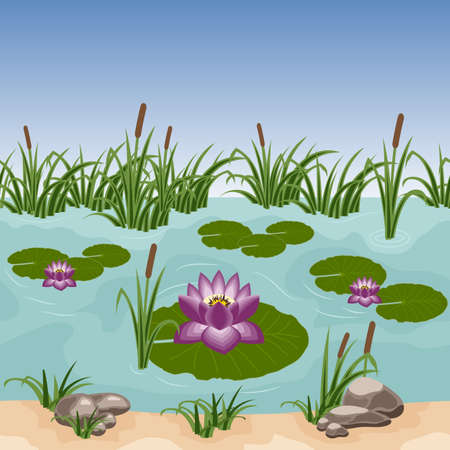 Pond with colorful water lilies, reeds in grass and stones. Can be used as a seamless background for game or cartoon asset. Vector illustration, tileable horizontally
