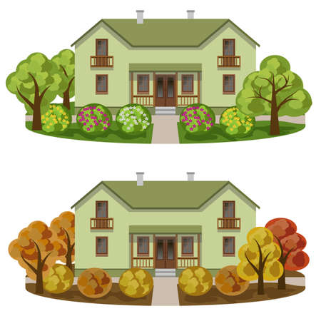 Set of houses in seasoned garden landscape. Manor house, autumn and summer gardens with colorful trees and bushes with flowers. Vector illustration.