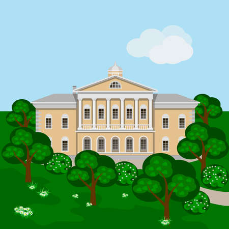 Cartoon rich manor house or palace in green summer landscape, Scene with mansion, trees and bushes in blossom