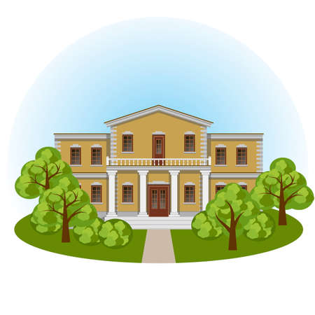 Manor house in spring landscape, front view. Colorful cartoon scene with mansion and green trees . Vector illustration