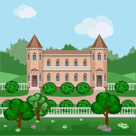 Cartoon Fairy Tale Castle Or Rich Mansion In Green Summer Landscape Scene With Victorian Style