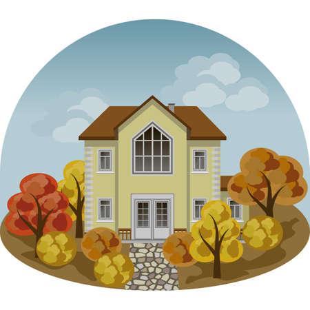 秋の風景シーンで家族マナーハウス。家、カラフルな木や茂み、舗装された歩道。漫画フラットデザインスタイル、ベクトルイラスト、正面図  イラスト・ベクター素材