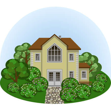 Family manor house in summer landscape scene. House, colorful trees and bushes, paved sidewalk. Cartoon flat design style, vector illustration, front view  Illustration