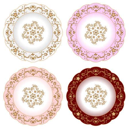 Aantal decoratieve porseleinen borden versierd met oosterse gouden vintage patroon. Geïsoleerde objecten, witte en kleurrijke platen met gouden bloemenornament. Vector illustratie