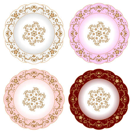 Set of decorative porcelain plates ornate with oriental golden vintage pattern. Isolated objects, white  and colorful plates with golden floral ornament. Vector illustration