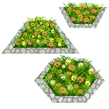 Set of flowers to create garden scene. Chamomiles, yellow and orange flowers in grass composed in flowerbed with stone border. Vector illustration, isolated on white background