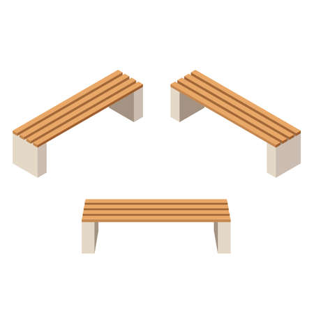 Set of wooden benches.isolated to construct garden, farm or other outdoor scenes. Can be used in game or cartoon asset. Vector illustration, isometric and top down view Vettoriali