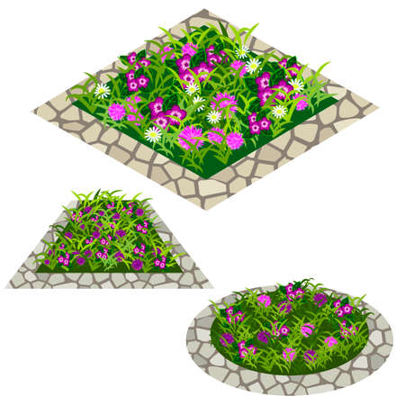 Set of flowers to create garden scene. Chamomiles and other flowers in grass composed in flowerbed with stone border. Vector illustration, isolated on white background