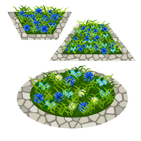 Set of flowers to create garden scene. Chamomiles, cornflowers and other flowers in grass composed in flowerbed with stone border. Vector illustration, isolated on white background