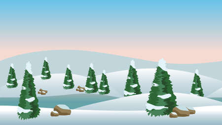 Vector winter landscape for cartoon or game scene background. Snow, conifer trees and cold river. Vector illustration, horizontally seamless.