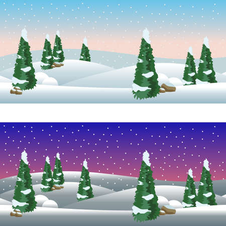 Set of cartoon winter village landscapes, day and night. Snow, conifer trees, Christmas night. Horizontally seamless, fits as background for cartoon or game asset. Vector illustration