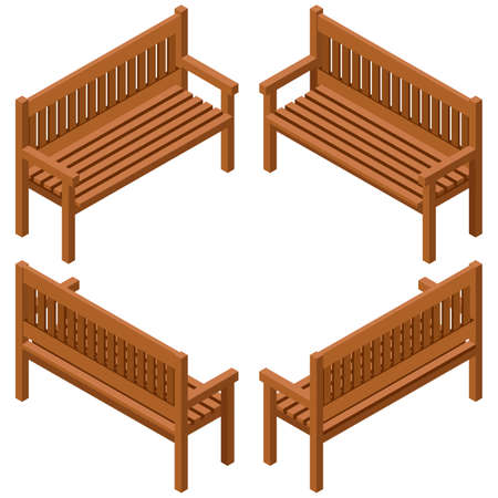 Set of wooden benches.isolated to construct garden, farm or other outdoor scenes. Can be used in game or cartoon asset. Vector illustration, isometric and top down view Illustration