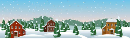 Winter village or farm landscape scene. Snow, houses, conifer trees. Christmas or New Year season. Use as background in cartoon or game asset. Vector illustration, horizontally seamless