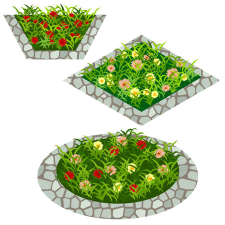 Set of flowers to create garden scene. Chamomiles, red and yellow flowers in grass composed in flowerbed with stone border. Vector illustration, isolated on white background Illustration