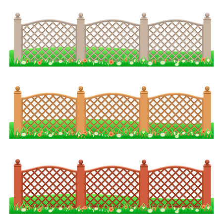 Set of farm or garden fences isolated on white background with grass and flowers. Front view, can be used as scene elements for game or cartoon asset. Vector illustration
