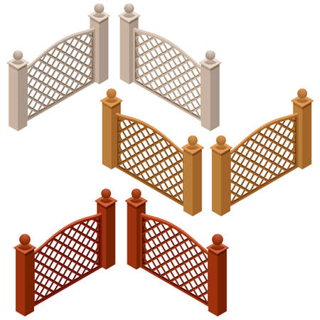 Set of farm or garden fences isolated on white background. Isometric view, can be used as scene elements for game or cartoon asset. Vector illustration Ilustracja