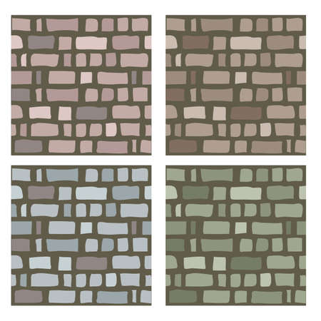 Set of stone or brick textures to create walls or street pavement. Seamless vector background pattern.