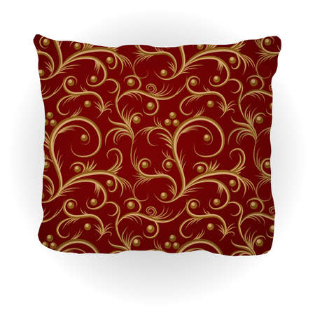 Throw pillow isolated for home interior design. Decorated with golden vintage floral pattern on vinous, Victorian style . Vector illustration.
