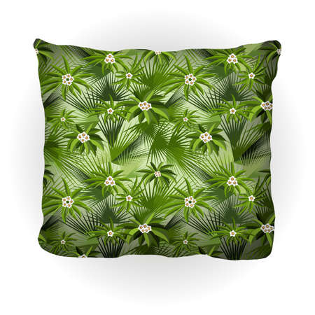 Throw pillow isolated for home interior design. Decorated with tropical pattern, country style. Vector illustration. Illustration