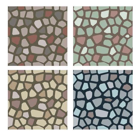 石のテクスチャのセット。石、石畳は、壁や舗装のためのテクスチャとして使用します。シームレスなベクトルパターン。