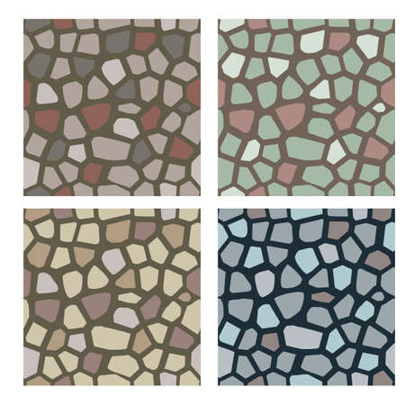 Set of stone textures. Stones, cobbles to use as a texture for wall or pavement. Seamless vector pattern. Illustration